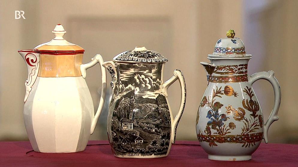 keramik kannen dreierlei dekore porzellan schatzkammer kunst krempel br fernsehen. Black Bedroom Furniture Sets. Home Design Ideas