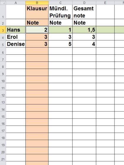 Grips mathe 40 einf hrung in die tabellenkalkulation for Tabelle 2 spalten