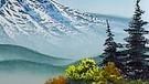 Bob Ross vor einem seiner Landschaftsbilder. | Bild: BR/Bob Ross Company