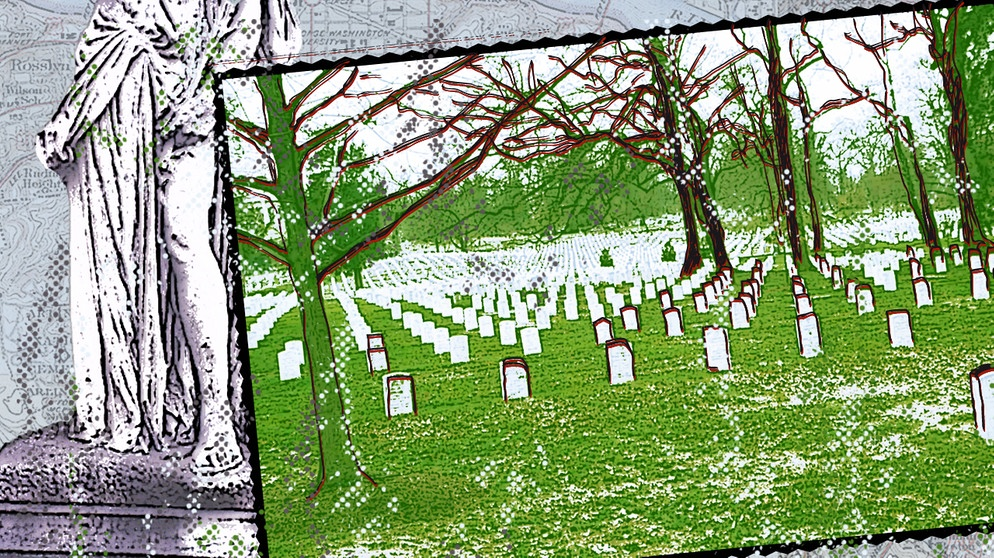Illustration des Kalenderblatts: US-Nationalfriedhof Arlington | Bild: BR/ Franziska Pucher