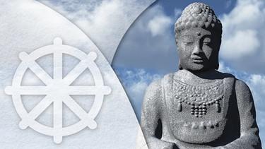 Illustration tod und weiterleben im buddhismus dharma rad und budda