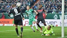 Strafraumszene in der Partie Bremen gegen den FCI | Bild: dpa-Bildfunk