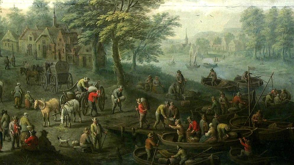 Holländische Landschaft Wimmelbild Mit Fluss Gemälde