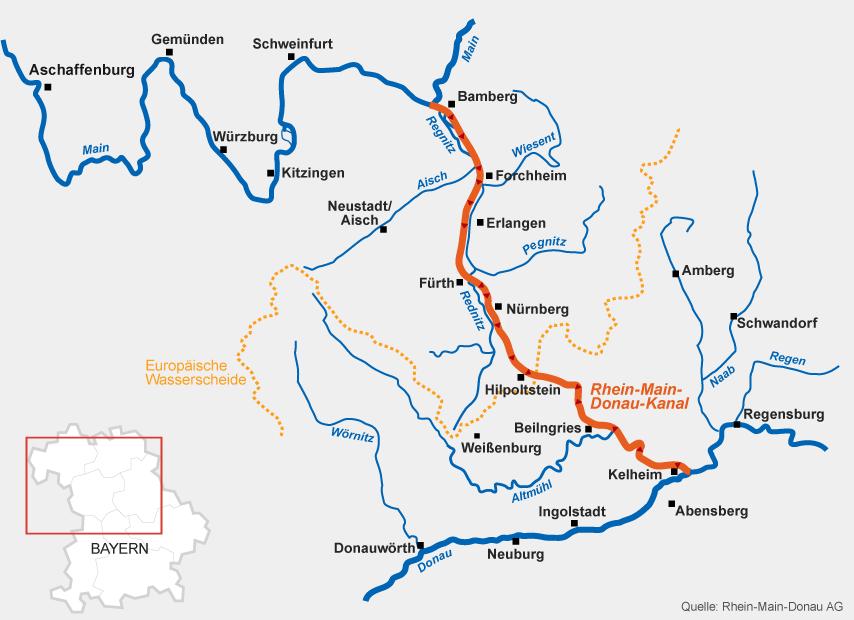 Donau Flussverlauf