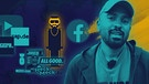 Presenter Malcolm Ohanwe vor Illustration mit Rapper und Hiphop-Youtube-Channels und -Magazinen | Bild: BR, picture-alliance/dpa, colourbox.com, Montage: BR