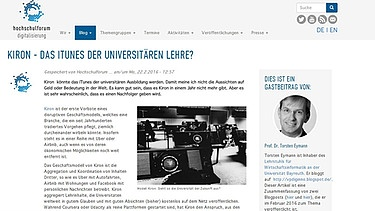 Screen-Shot Kiron University Blog | Bild: Kiron University