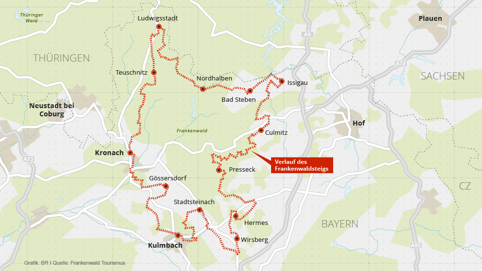 Oberfranken Karte.Karte Verlauf Des Frankenwaldsteigs In Oberfranken Br De