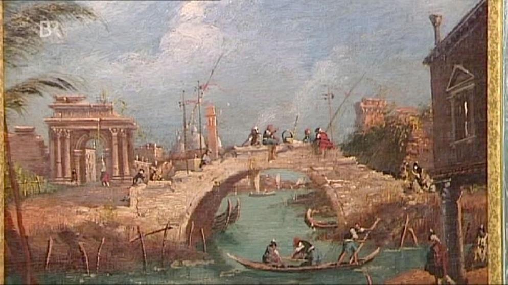 Kunst Krempel landschaft mit brücke venezianische erinnerung gemälde