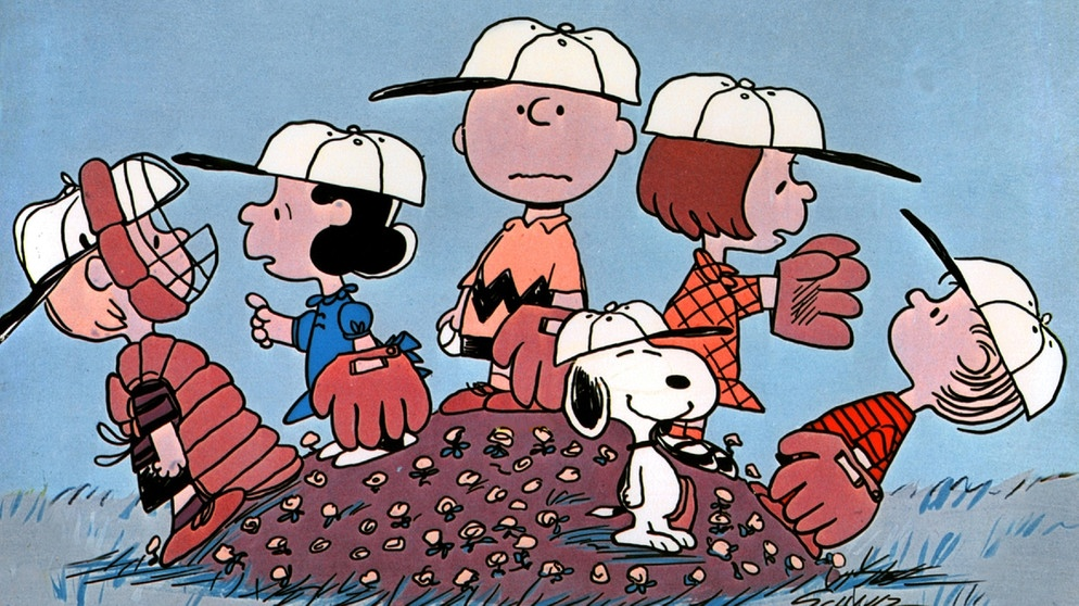 "Szene aus dem Zeichentrickfilm ""Ein Junge namens Charlie Brown"": Die Baseballmannschaft um Charlie Brown, Linus, Lucy, Schroeder und Snoopy 