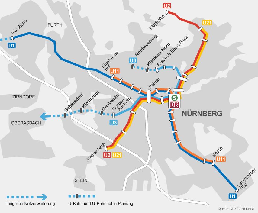 Mittelfranken Karte.Karte U Bahn Netz In Nürnberg Mittelfranken Br24 Br De