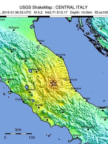 erdbeben italien karte Schweres Erdbeben in Italien: