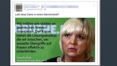 Fcebook-Screenshot Kommentar zu Claudia-Roth-Post   | Bild: BR