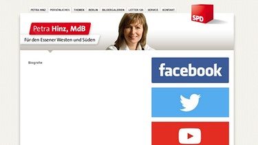 screenshot der leeren biografie auf petra hinz website bild petra hinz mdb - Gefalschter Lebenslauf