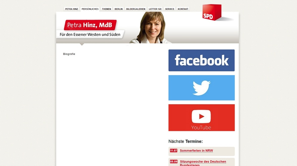 screenshot der leeren biografie auf petra hinz website bild petra hinz mdb - Lebenslauf Gefalscht