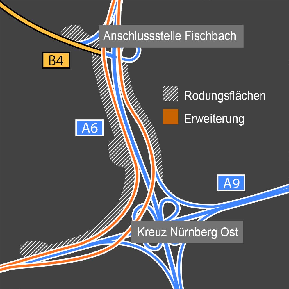 Mittelfranken Karte.Autobahnkreuz Nurnberg Ost Karte Geplanter Ausbau Der A6