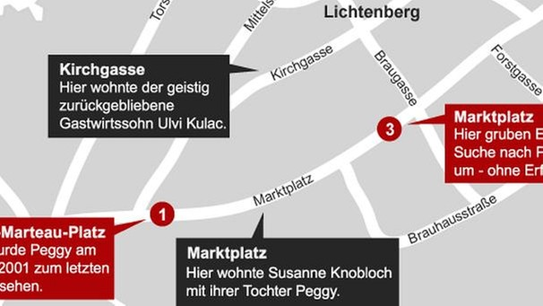 Karte: Tatort Fall Peggy in Lichtenberg | Bild: BR
