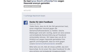 Feedback-Reaktion von Facebook | Bild: Screenshot