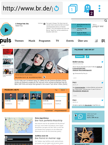 Screenshot der von Puls in Ghostery App | Bild: Screenshot Ghostery App // www.br.de/puls