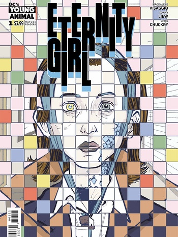 "Cover Comic ""Eternity Girl"" - Superheldin als buntes Mosaik-Portrait 