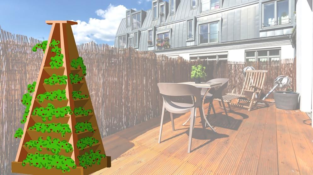 balkon blumenkasten montage schematische darstellung einer pflanzpyramide auf einem bild mauritius images wasserspeicher