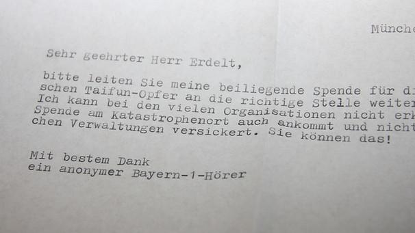 Anonymer Brief 1000 Euro Spende Für Taifun Opfer Bayern 1 Am