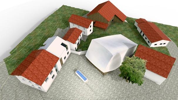 Planungszeichnung des neuen Dorfplatzes mit Konzerthaus in Blaibach im Bayerischen Wald | Bild: BR / Haimerl Architektur