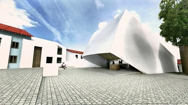 Planungszeichnung des neuen Konzerthauses in Blaibach im Bayerischen Wald | Bild: BR / Haimerl Architektur