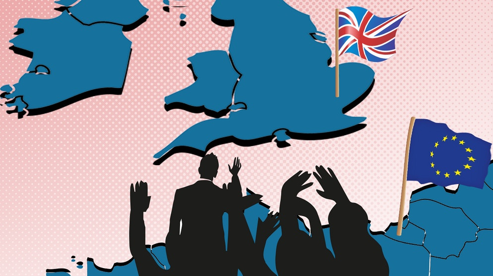 Illustration, Europäer winken davonschwimmendem Großbrittannien zu