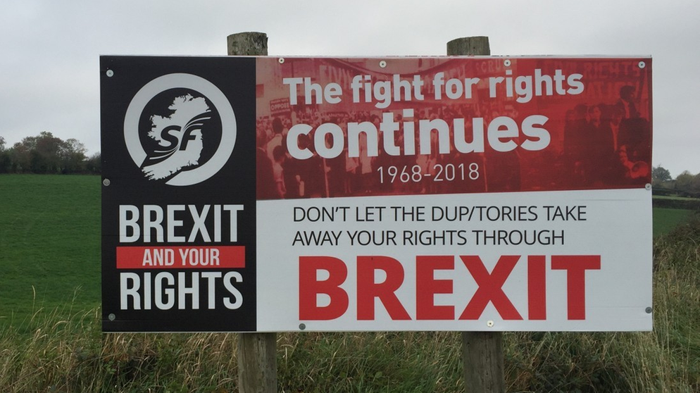Plakat der Border Communities Against Brexix in Irland | Bild: BR / Till Ottlitz