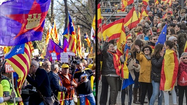 Demonstrationen in Katalonien und Madrid | Bild: BR/ picture-alliance/dpa
