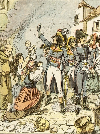 During the Italian campaign, he (Napoleon) calls a halt to the pillage of Rome by the invading French army - but not before there's been no lack of looting and rape Date: 1797 | Bild: picture-alliance/dpa/Mary Evans Picture Library