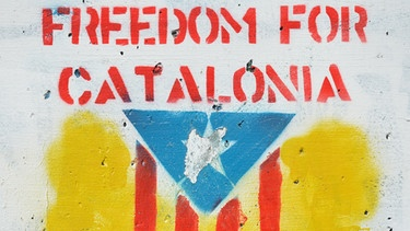 "Wand-Graffiti ""Freedom for Katalonien"" 