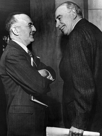 Harry Dexter White (links) und John Maynard Keynes am 8.3.1946 in Savannah, Georgia, USA | Bild: IWF