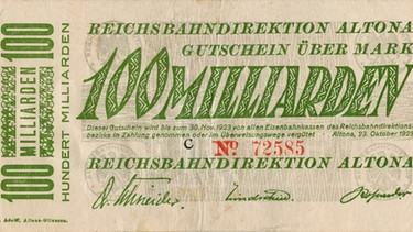 Die Hyperinflation in der Weimarer Republik (1921-1923). Vorderseite einer 100 Milliarden Mark Banknote | Bild: picture-alliance/dpa