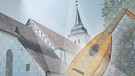 Illustration: Kirche mit Musikinstrument Laute"