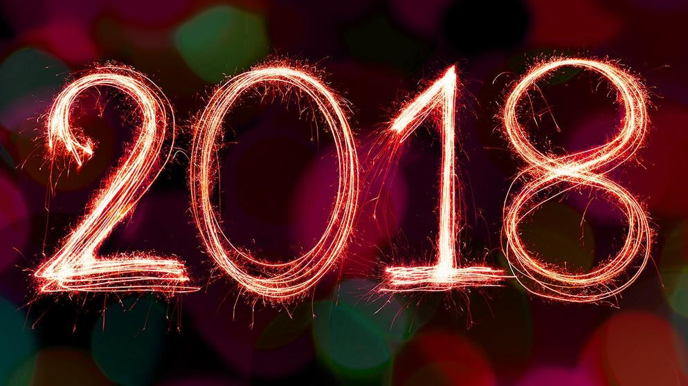 Feuerwerk Und Jahreszahl 2018