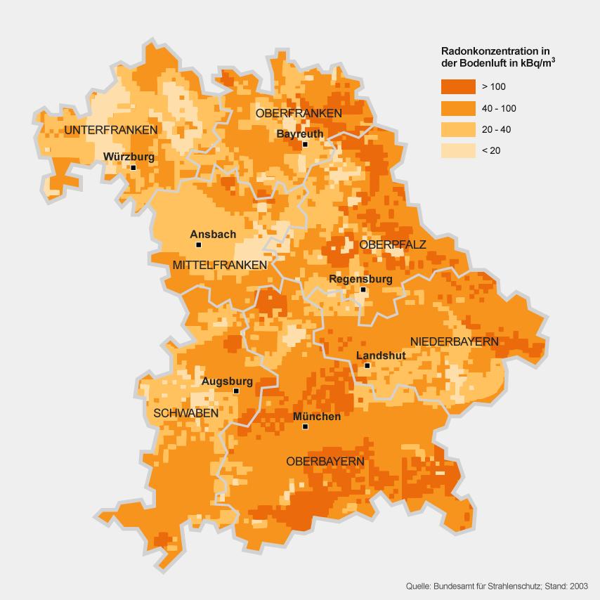 Mittelfranken Karte.Radonkonzentration Radonkonzentration In Bayern Themen Br De