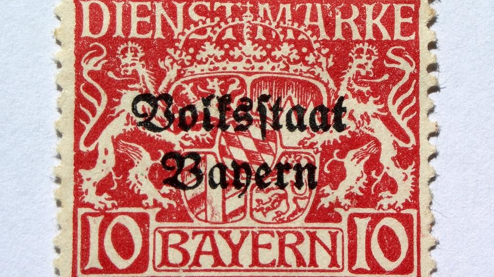 Briefmarke Mit Aufdruck Volksstaat Bayern