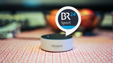 Amazon Echo + BR24 Sport-Logo | Bild: picture-alliance/dpa; Montage: BR