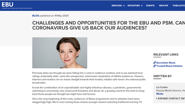 Screenshot: BLOG published on 14 May 2020, Challenges and opportunities for the EBU and PSM. Can Coronavirus give us back our audiences?; stellvertretende EBU-Direktorin für Medien, Liz Corbin | Bild: Screenshot