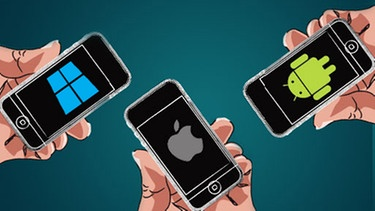 Illustration Smartphones | Bild: BR, Logos: Apple, Windows, Android
